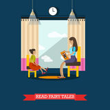 Vector illustration of volunteer reading fairy tales for little girl Stock Photo