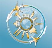 Vector Illustration von berühmten Monumenten der Reise um Welt Stockfoto