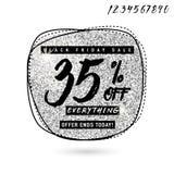 Vector Illustration von Black Friday-Verkauf mit Rabatt 35 Stockbild