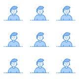Vector Illustration von blauen Ikonen in der flachen Linie Art Grafikdesignkonzept von Emoji und von Avatara Stockbilder
