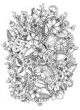 Vector Illustration von Blumen zentangle, Gekritzel, zenart, Muster Erwachsene Malbücher Stockfoto