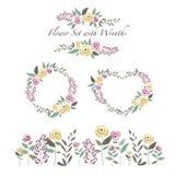 Vector Illustration von den Blumen und von Blumenkränzen, die in flaches De eingestellt werden Stockfotografie