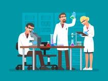 Vector Illustration von den Wissenschaftlern, die am Wissenschaftslabor, flache Art arbeiten lizenzfreie abbildung