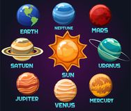 Vector Illustration von der Sonnensystemplaneten Erde, Neptun, beschädigt, Uranus, Saturn, Jupiter, Venus, das Quecksilber, das a stock abbildung