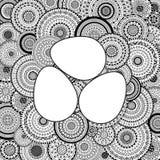 Vector Illustration von drei Ostereiern auf Mandalahintergrund Stockbild