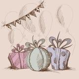 Vector Illustration von drei Präsentkartons, von Flaggen und von Ballonen Stockfoto