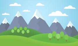 Vector Illustration von einer Berglandschaft mit Bäumen und Gras Stockfotos