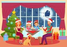 Vector Illustration von Eltern und von Kinderkindern, die bei Tisch sitzen und auf Weihnachtsabend speisen Weihnachtsfamilienaben vektor abbildung