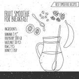Vector Illustration von Frucht Smoothie für Frühstücksrezepthand Stockfoto