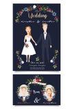 Vector Illustration von glücklichen Brautpaaren auf dunkelblauem Hintergrund stockfotografie