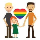 Vector Illustration von glücklichen homosexuellen Paaren mit einem Kind Getrennt auf weißem Hintergrund Lizenzfreies Stockbild