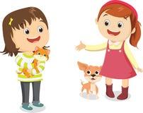 Vector Illustration von glücklichen Kindern mit seinem Haustier vektor abbildung