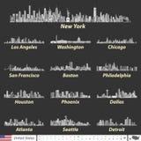 Vector Illustration von größten Stadtskylinen Vereinigter Staaten in der Schwarzweiss-Farbpalette Navigations-, Standort- und Rei stock abbildung
