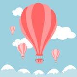 Vector Illustration von Heißluftballonen auf dem Himmel Lizenzfreie Stockfotografie