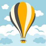 Vector Illustration von Heißluftballonen auf dem Himmel Lizenzfreies Stockbild