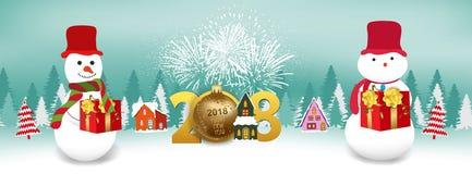 Vector Illustration von Hintergrund 2018 des neuen Jahres mit Weihnachtsgoldkugel und -Schneemann Lizenzfreies Stockbild