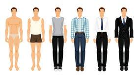 Vector Illustration von jungen Männern in der unterschiedlichen Kleidung Stockfotos