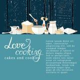 Vector Illustration von Küchengeräten auf einem strukturierten Hintergrund Stockfotos