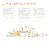 Vector Illustration von Küchengeräten mit Unterzeichnungsameisentext Lizenzfreie Stockfotos