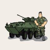 Vector Illustration von Karikaturmilitär-personil und -behälter lizenzfreie abbildung