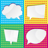 Vector Illustration von leeren weißen Sprachedialogblasen auf c Stockfoto