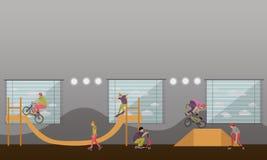 Vector Illustration von Leuten auf Fahrrad, Skateboard, Rollen und Roller Jugendlicher macht Tricks, Bremsungen Rochen-Park Stockfotos