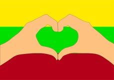 Vector Illustration von Litauen-Flagge und -händen, die eine Herzform machen Stockfotos