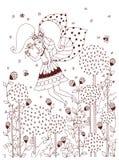 Vector Illustration von Mädchen zentangl Reiten auf einem Schwingen Stockfotografie
