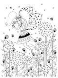 Vector Illustration von Mädchen zentangl Reiten auf einem Schwingen Holz, Rahmen, Blumen, Vögel im Baum, Gekritzel, zenart, dudla Stockfotografie