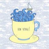 Vector Illustration von Meer und versenden Sie mit Bon Voyage-Beschriftung - glückliche Reise Stockfotos