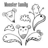Vector Illustration von Monstern und von netten ausländischen freundlichen, kühlen, netten von Hand gezeichneten Monstern Sammlun Lizenzfreies Stockbild