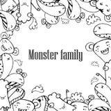 Vector Illustration von Monstern und von netten ausländischen freundlichen, kühlen, netten von Hand gezeichneten Monstern Sammlun Lizenzfreie Stockbilder