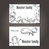 Vector Illustration von Monstern und von netten ausländischen freundlichen, kühlen, netten von Hand gezeichneten Monstern Sammlun Lizenzfreie Stockfotografie