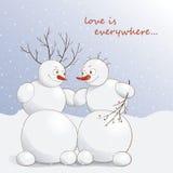 Vector Illustration von netten verliebten Schneemännern unter dem Schnee Lizenzfreies Stockfoto