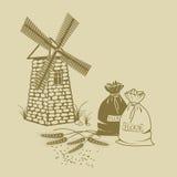 Vector Illustration von Ohren des Weizens, der Säcke Mehls und der Windmühle Stockfotografie