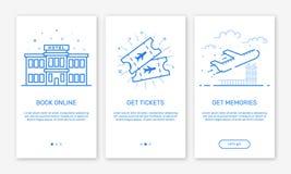 Vector Illustration von Onboarding APP-Schirme und Netzkonzeptdesignteam für bewegliche apps in der flachen Linie Art Stockfotos