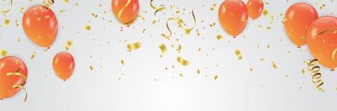 Vector Illustration von Orangen-Ballonfeier-Hintergrund te stock abbildung