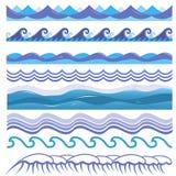Vector Illustration von Ozean, Meereswellen, Brandungen und Lizenzfreie Stockfotos