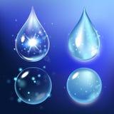 Vector Illustration von Satzkollagentropfen, das Wasser, transparent, Hyaluronsäure Lizenzfreie Stockbilder