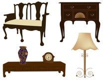 Vector Illustration von Schattenbildern von unterschiedlichen Retro- Möbeln Stockfoto