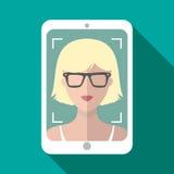 Vector Illustration von selfie am Handy in der modischen flachen Art Vector die Ikone des Mädchens Foto auf Smartphone machend Stockbilder