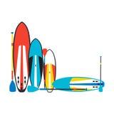 Vector Illustration von stehen oben Radschaufeln und Paddel stellen i ein Lizenzfreie Stockfotografie