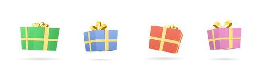 Vector Illustration von verschiedenen bunten Geschenken und von Geschenkkästen Lizenzfreies Stockfoto