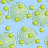 Vector Illustration von Zitronenscheiben in den selben Größen auf Blau Muster Stockbild
