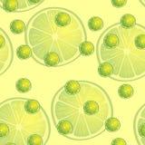 Vector Illustration von Zitronenscheiben in den selben Größen auf gelbem Hintergrund Muster Lizenzfreie Stockfotos