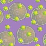 Vector Illustration von Zitronenscheiben in den selben Größen auf purpurrotem Hintergrund Muster Lizenzfreies Stockfoto