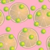 Vector Illustration von Zitronenscheiben in den selben Größen auf rosa Hintergrund Muster Lizenzfreie Stockbilder