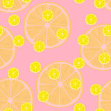 Vector Illustration von Zitronenscheiben in den selben Größen auf Rosa Muster Stockfotografie