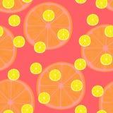 Vector Illustration von Zitronenscheiben in den selben Größen auf Rot Muster Lizenzfreie Stockfotografie