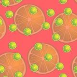 Vector Illustration von Zitronenscheiben in den selben Größen auf rotem Hintergrund Muster Lizenzfreies Stockbild